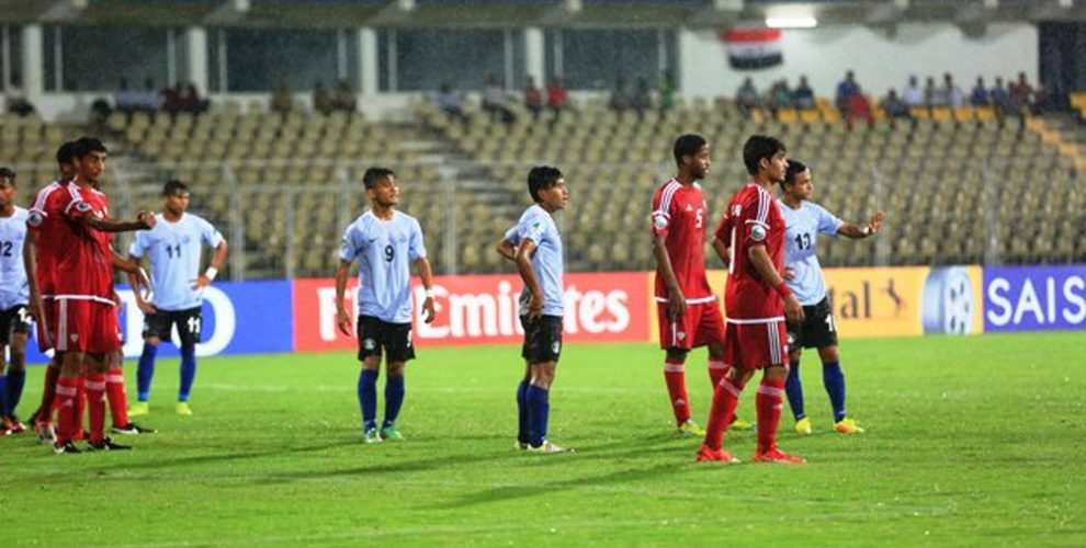 Match action during the AFC U-16 Championship encounter India v UAE.