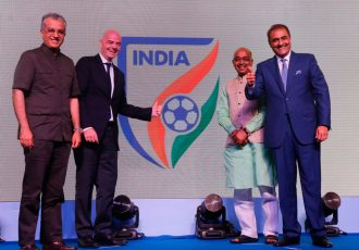 FIFA President Infantino unveils new All India Football Federation identity. (Photo courtesy: AIFF Media)