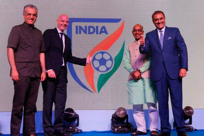 FIFA President Infantino unveils new All India Football Federation identity. (Photo courtesy: AIFF Media)