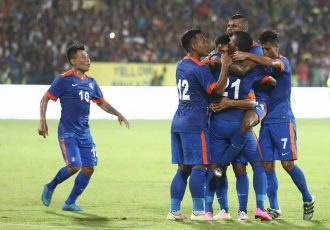 Indian national team players celebrating one of the goals during the 4-1 win against Puerto Rico. (Photo courtesy: AIFF Media)