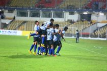 India U-16 players celebrating a goal.