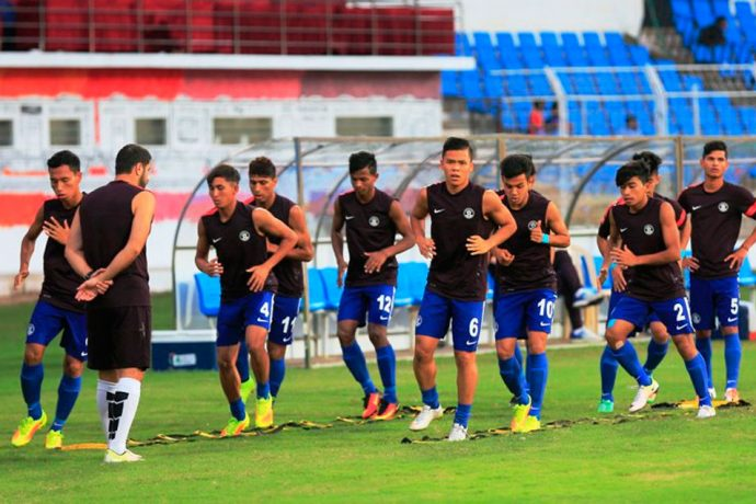 The India U-16 national team during a warm-up session.