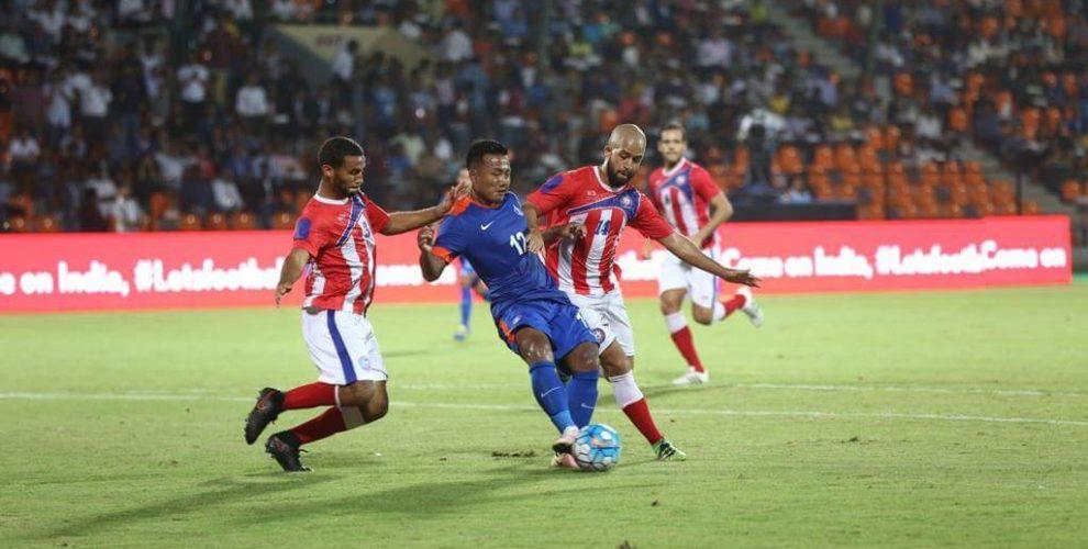 India striker Jeje Lalpekhlua in action against Puerto Rico. (Photo courtesy: AIFF Media)