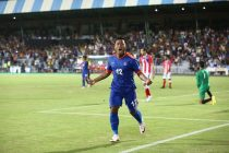 India striker Jeje Lalpekhlua celebrating his goal against Puerto Rico. (Photo courtesy: AIFF Media)