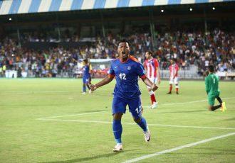 India striker Jeje Lalpekhlua celebrating his goal against Puerto Rico. (Photo courtesy: AIFF Media)