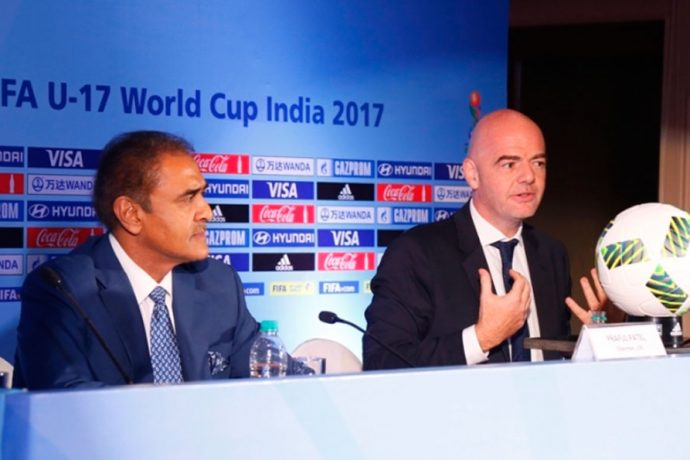 AIFF President Praful Patel and FIFA President Gianni Infantino. (Photo courtesy: AIFF Media))