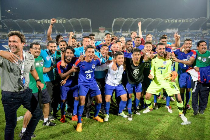 Bengaluru FC players celebrating their AFC Cup semifinal win. (Photo courtesy: Bengaluru FC)