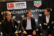 Oscar Ruggeri, Lothar Matthaus and Sebastian Vignolo at the Bundesliga Legends Tour in Buenos Aires (Photo courtesy: TAG Heuer)