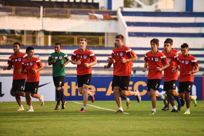 Bengaluru FC squad warms up at the Sree Kanteerava Stadium. (Photo courtesy: Bengaluru FC)