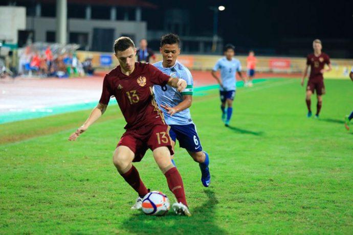 Match action during the BRICS U-17 Football Tournament encounter India v Russia. (Photo courtesy: AIFF Media)