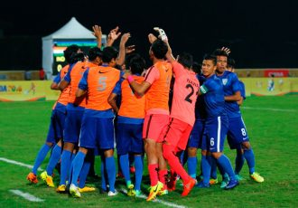 India U-16 national team players celebrating a goal.