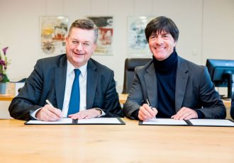 DFB President Reinhard Grindel (l) and Joachim Löw, head coach of the German National Football team (Photo courtesy: DFB / Getty Images)