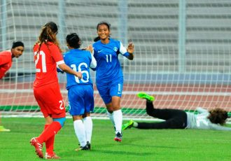 Indian Women's national team match action.