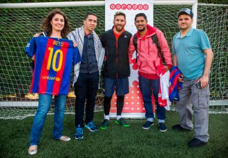 Leo Messi meeting Ooredoo's Stand For Good Winners (PRNewsFoto/Ooredoo)