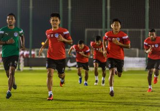 Bengaluru FC skipper Sunil Chhetri and Udanta Singh in training at a facility in Doha (Photo courtesy: Bengaluru FC)