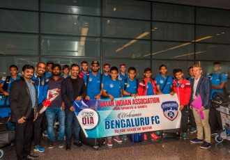 Warm welcome for Bengaluru FC at Doha Airport ahead of AFC Cup Final (Photo courtesy: Bengaluru FC)