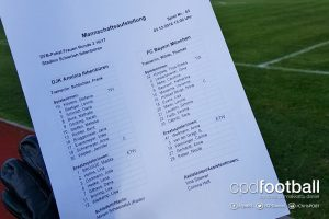 Team sheet for the Women's DFB-Pokal (German Cup) match DJK Arminia Ibbenbüren vs FC Bayern Munich. (© CPD Football)