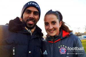 Chris Punnakkattu Daniel (CPD Football) and FC Bayern and Germany midfielder Sara Däbritz. (© CPD Football)