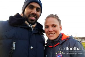 Chris Punnakkattu Daniel (CPD Football) and FC Bayern and Germany defender Leonie Maier. (© CPD Football)