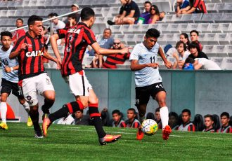 Match action from the Atlético Paranaense U-17 v India U-16 encounter. (Photo courtesy: AIFF Media)