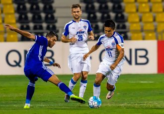 Bengaluru FC skipper Sunil Chhetri in action against Air Force Club Iraq in the final of the 2016 AFC Cup in Doha. (Photo courtesy: Bengaluru FC)