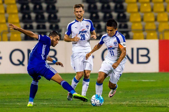 Bengaluru FC skipper Sunil Chhetri in action against Air Force Club Iraq in the final of the 2016 AFC Cup in Doha. (Photo courtesy: Bengaluru FC)