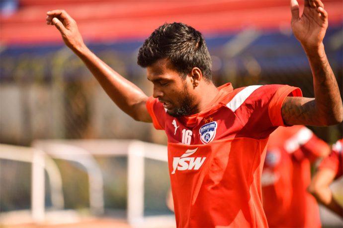 Bengaluru FC midfielder Shankar Sampingiraj in training. (Photo courtesy: Bengaluru FC)