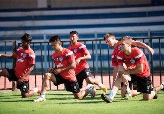 Bengaluru FC players in training at the Bangalore Football Stadium (Photo courtesy: Bengaluru FC)