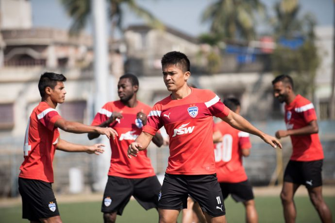 Bengaluru FC skipper Sunil Chhetri in training at the Barasat Stadium, in Kolkata. (Photo courtesy: Bengaluru FC)