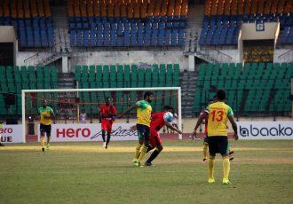 Match action during the I-League encounter Chennai City FC v Minerva Punjab FC (Photo courtesy: I-League Media)