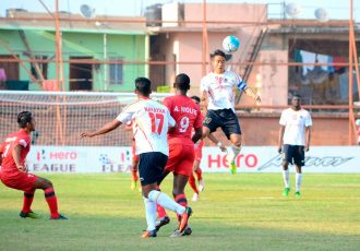 Match action during the I-League encounter Churchill Brothers SC v East Bengal Club. (Photo courtesy: I-League Media)