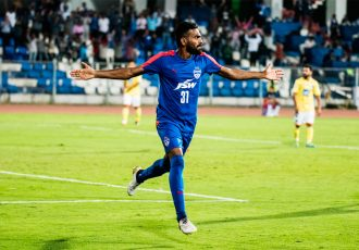 Bengaluru FC striker CK Vineeth celebrates his goal (Photo courtesy: Bengaluru FC)