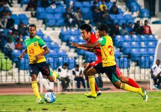Match action during the I-League encounter DSK Shivajians FC v Chennai City FC. (Photo courtesy: I-League Media)