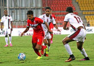 Match action during the I-League encounter DSK Shivajians FC v Mohun Bagan AC. (Photo courtesy: I-League Media)