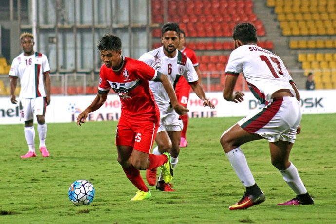 Match action during the I-League encounter DSK Shivajians FC v Mohun Bagan AC. (Photo courtesy: I-League Media)