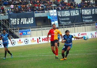 Match action during the I-League encounter Minerva Punjab FC v East Bengal Club. (Photo courtesy: I-League Media)