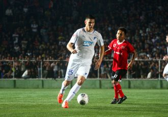 Niklas Süle in action for TSG 1899 Hoffenheim against Mizoram XI during their 2014 India Tour.