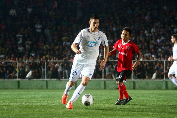 Niklas Süle in action for TSG 1899 Hoffenheim against Mizoram XI during their 2014 India Tour.