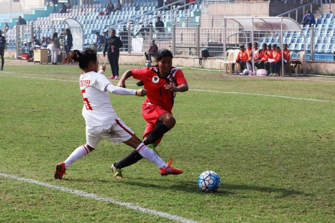 Rising Student Club rise to the occasion against Aizawl FC in Indian Women's League (#IWL) opener. (Photo courtesy: AIFF Media)