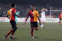 East Bengal striker Robin Singh celebrates his goal. (Photo courtesy: I-League Media)