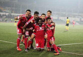 Shillong Lajong FC player celebrating a goal (Photo courtesy: I-League Media)