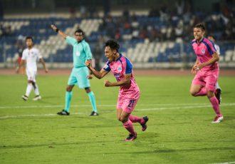 Bengaluru FC striker Udanta Singh celebrates his goal against Shillong Lajong at the Sree Kanteerava Stadium, in Bengaluru, on Saturday. (Photo courtesy: Bengaluru FC)