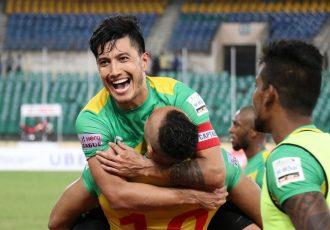 Chennai City FC skipper Zohib Islam Amiri celbrating a goal with his teammates (Photo courtesy: I-League Media)