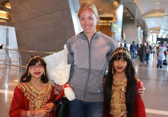 German player Angelique Kerber's warm welcome to Doha (Photo courtesy: Qatar Airways)