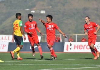 Aizawl FC's Brandon Vanlalremdika celebrates his goal (Photo courtesy: I-League Media)