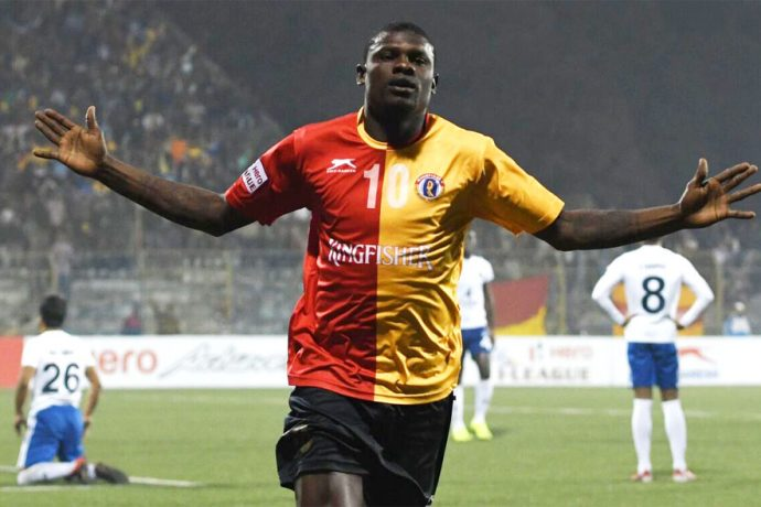 East Bengal Club star Willis Plaza celebrating a goal (Photo courtesy: I-League Media)