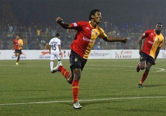 East Bengal's Willis Plaza celebrates his goal (Photo courtesy: I-League Media)