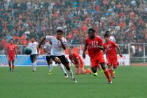 Match action during the I-League encounter Aizawl FC v East Bengal Club (Photo courtesy: I-League Media)