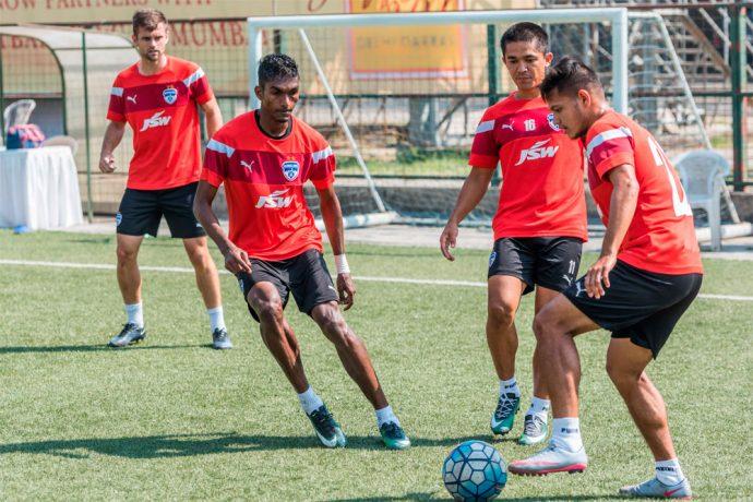 Bengaluru FC players Lenny Rodrigues, Sunil Chhetri and Nishu Kumar in training (Photo courtesy: Bengaluru FC)