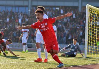 Aizawl FC's Brandon celebrating his goal (Photo courtesy: I-League Media)